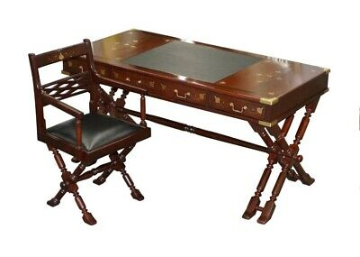 Vintage 1960'S Solid Rosewood With Brass Inlay Trestle Campaign Desk & Chair