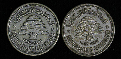 Lot of 2 Lebanon 50 Piastres silver coins 1952
