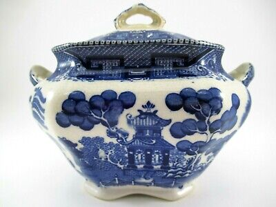 RARE ANTIQUE 1909 Buffalo Pottery Blue Willow Sugar Bowl with Lid Rectangular
