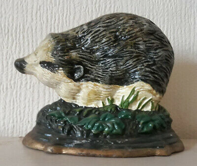 Vintage Cast Iron Door Stop Of a Badger Doorstop
