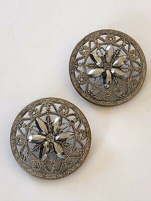 Antique Pair Of Ornate Floral Filigree Design Buttons With Cut Steel Petals 28mm