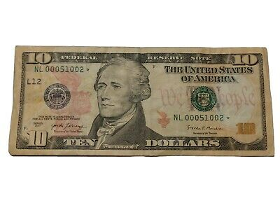 TEN DOLLARS STAR NOTE BILL $10 * About Uncirculated price is for each