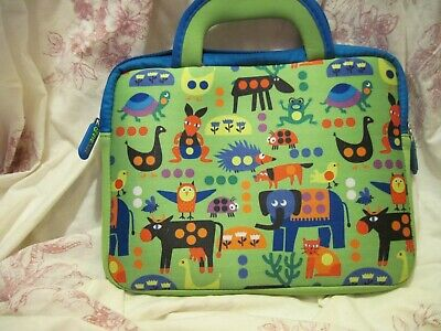 Green Padded Tablet Clutch Bag By Eve Case With Fun Animal Print