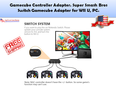 Gamecube Controller Adapter. Super Smash Bros Switch Gamecube Adapter for WII U,