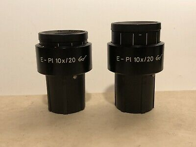 Pair Zeiss E Pl 10x 20 Glasses Microscope Eyepieces 30mm 444232 E-Pl