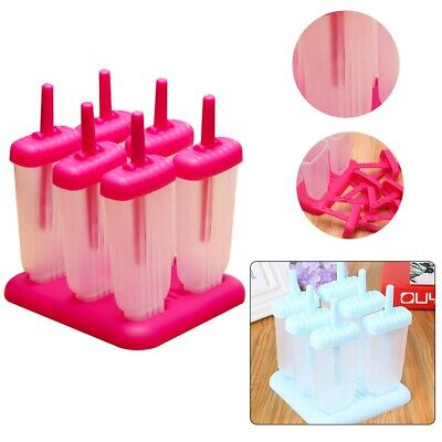 6pcs Pack Ice Lolly Cream Maker Mold DIY Popsicle Mould Frozen Yogurt Icebox UK