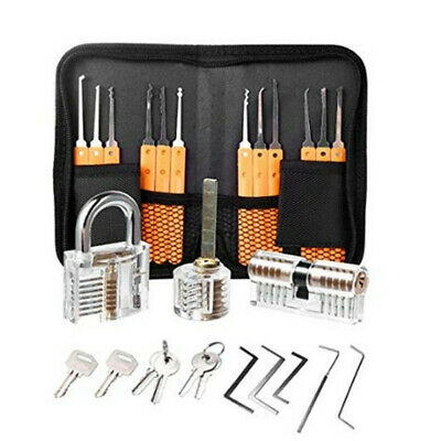 26pcs Single Hook Lock Picks Set with Transparent Lock Locksmith Practice