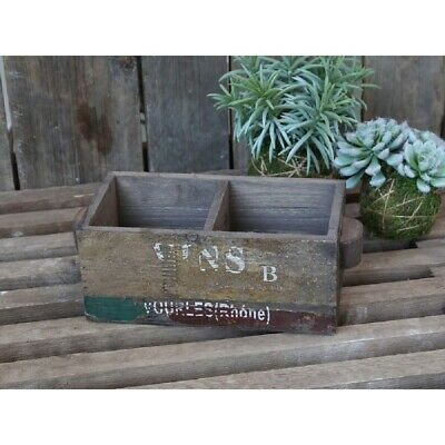 Vintage French Style Antiqued Wooden Box Crate Trug Vins Wine Holder Planter