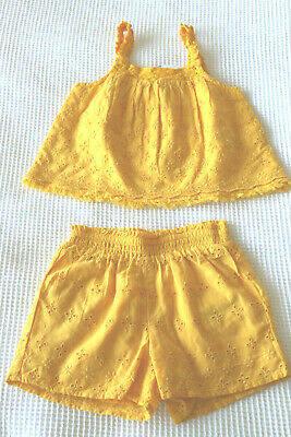 M&S Baby Girls Broderie Anglaise Top & Shorts Set Age 9-12 Months BNWT Tag £22