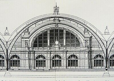 1897 Antique print of TRAIN STATIONS. Cast-Iron Architecture. Railway stations.