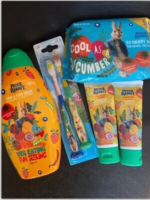 Children toiletry Petter Rabbit ( Toothbrush, Toothpaste. Baby Wipes ,body Wash)