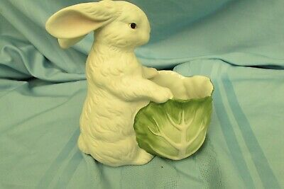 """TAILORED TILES Bunny Rabbit with Cabbage Porcelain Figurine Planter 7"""" tall"""