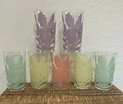 7 Rare VTG Clear Iris Drinking Glasses Tumblers Juice Kitchen Beverage Glassware