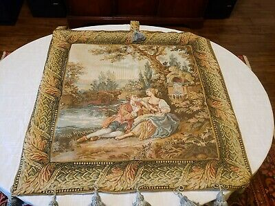 "Antique Victorian Needlepoint Tapestry Art Embroidery Woman 36.5"" x 36.5"