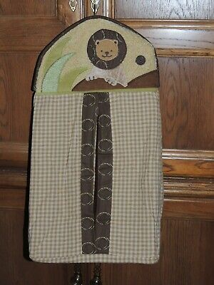 Lambs & Ivy Baby Coca Diaper Stacker Lion Green Brown Gingham Plaid Hanger