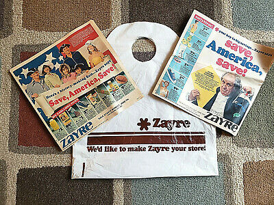 Vintage 1976 Bicentennial Zayre Ads and More Recent Zayre Plastic Bag