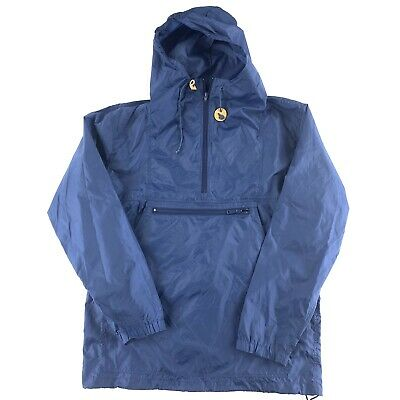 VTG EMS Eastern Mountain Sports Hooded 1/2 Zip Rain Jacket Blue Sz Large Anorak