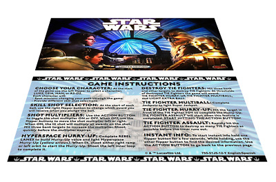Stern Star Wars LE Pinball Custom Apron Instruction Cards Limited Edition