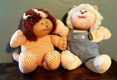 x2 Cabbage Patch Koosas Animals Cat + Lion Stripes Dolls Vintage Coleco 1983 Lot