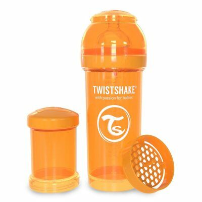 Twistshake 260ml Airflex Baby-Flasche with Dummy S ( from Birth) Orange