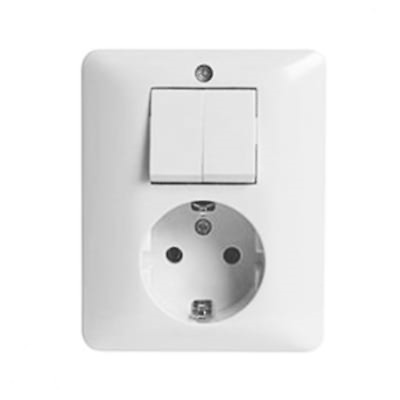 Peha Schuko Outlet with Double Series Switch Combination Arcticweiss White Aw