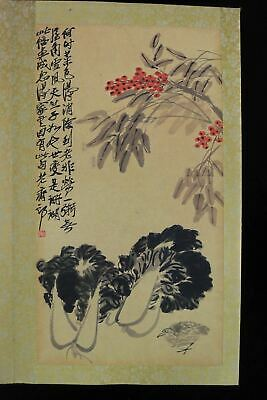 "Very Large Rare Old Chinese Hand Painting Peaches & Flowers Book ""QiBaiShi"" Mark"