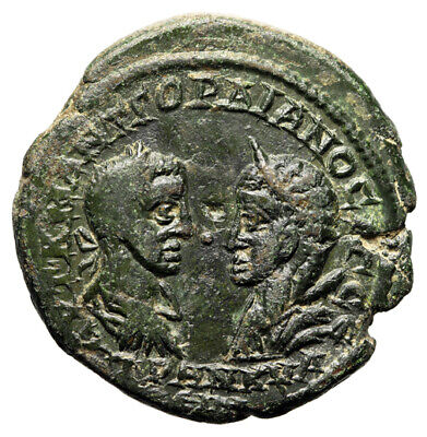 """Gordian III & Tranquillina AE27 of Odessos """"Portraits & Tyche Seated"""" Good VF"""