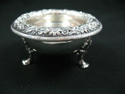 S. Kirk & Son Repoussee Sterling Silver  #58 Footed Butter Pat Nut Dish