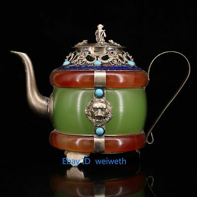 Collectible Old Exquisite Chinese Handmade Tibetan Silver Jade Inlay Jade Teapot