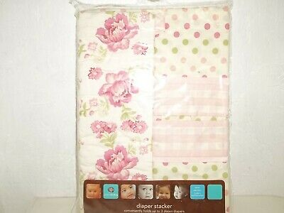Global Baby Diaper Stacker And Window Valance White/Floral & Polka Dot New !!!