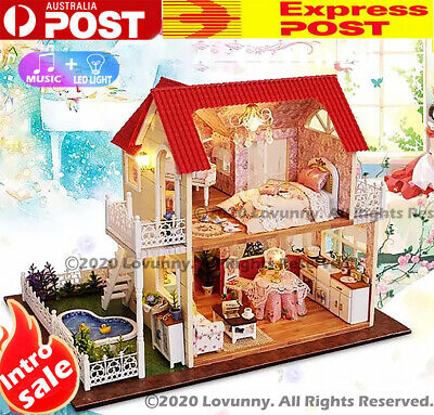 AU DIY LED Music Cottage Dollhouse Miniature Wooden Furniture Kit Doll House