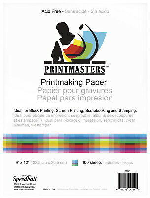 Speedball Print Master Block Printing Paper, 12 x 18 Inches, 60 lb, 50 Sheets