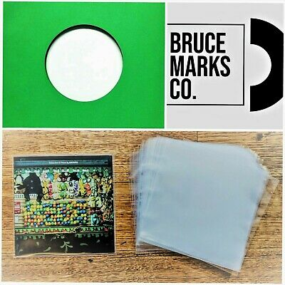 100 RECORD SLEEVES FOR 7″ VINYL - GREEN PREMIUM GSM & CLEAR SLEEVES 45RPM EPs