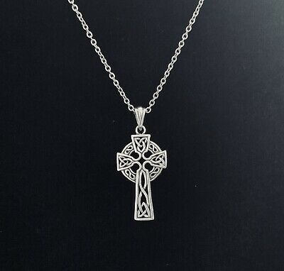 925 Sterling Silver Irish Celtic Knot Cross Pendant FREE Cable Link Chain