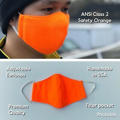 Handmade ANSI Orange Filter Face Mask | Washable | Adjustable Loops| Made In USA