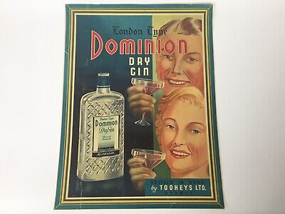 Original 1930s Poster Tooheys Dominion Gin Alcohol Advertising Australia 14 x 20