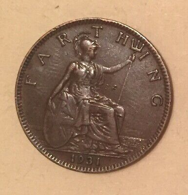 Great Britain 1931 1 Farthing Coin World Coin UK Foreign Coin Old Money Antique