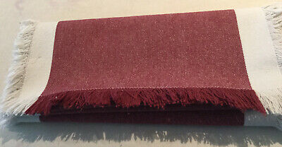 M&S Table Runner In Dark Pink & Cream Border With Frayed Edges