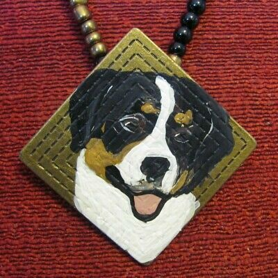 Greater Swiss Mountain Dog hand-painted on square metal pendant/necklace