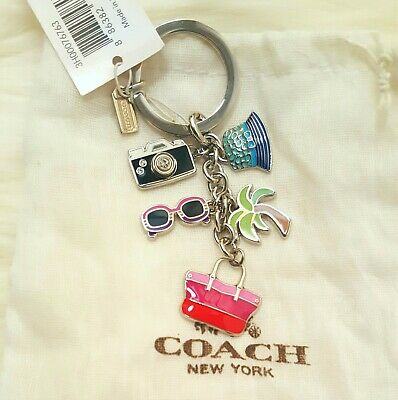 NWT COACH Multi Mix SKULL STARS CRYSTAL FEATHER CHARMS Key Ring Chain FOB 63939
