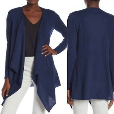 MAGASCHONI Solid Open Front Longline Cardigan Navy M NWT $88