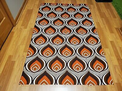 Awesome RARE Vintage Mid Century retro 70s brn org candle flame print fabric!