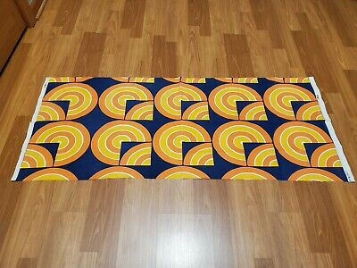 Awesome RARE Vintage Mid Century retro 70s org yel op art circle blue fabric!!!