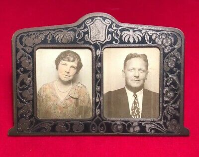 Vintage Art Deco Metal Double Picture Photo Frame Made in USA
