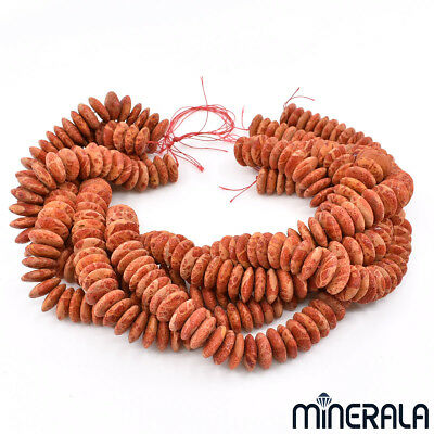 Natural Untreated Sponge Coral Gemstone Disc Beads Strand Various Sizes