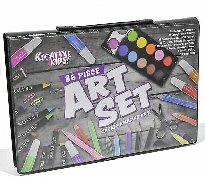 Kreative Kids 86 Piece Craft and Art Set - Kids Colouring Kit with Crayons and W