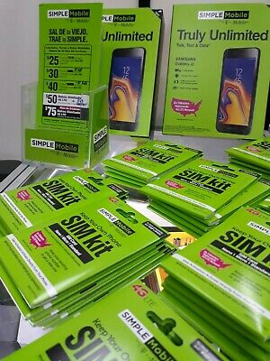 Pre-Loaded Simple Mobile SIM Card With $50 UNLIMITED Plan + FREE GIFT