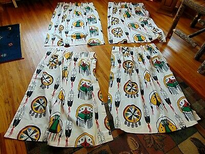 "Set Of 2 Pair Window Curtains Native American Vintage 4 Panels Pleated 42""X 23"""