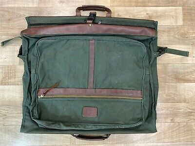 "Vintage ORVIS Canvas Leather 24"" Battenkill Folding Garment Bag Suitcase Luggage"
