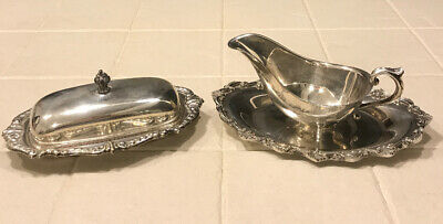 Vintage Silver  Plated Gravy Boat and Butter Holder Great Pieces!